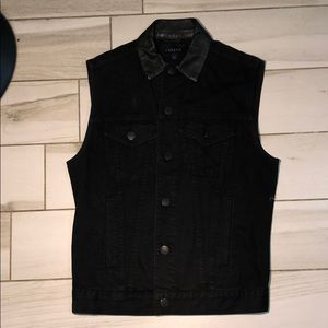 Jbrand jean vest with peather collar